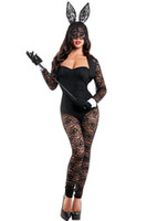 Wholesale Erotic Role Play Costumes - 4pcs Long Sleeves Lace Bunny Costume 2017 sexy Bodysuit Halloween Party Wear Lingerie Role-playing Rabbit Girl Sexy Erotic Jumpsuit Romper