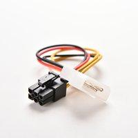 tarjeta de visualización pci al por mayor-Al por mayor- 2015 Nueva 1PC 4-Pin a 6-Pin PCI-E gráfica Video Display Card Power Connector cable convertidor convertidor de cable 17.5cm de longitud