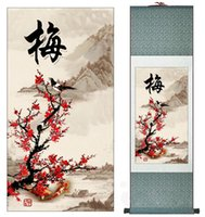 Wholesale Chinese Painted Silk - Traditional Chinese Art Painting Home Office Decoration Chinese painting birds with plum blossom Printed Scroll painting