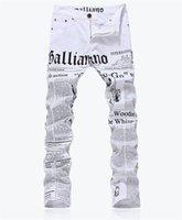 Wholesale Paper Size Letter - Wholesale-New Arrival Fashion Brand Men's Jeans Letters Paper Print Jeans Male Plus Size Casual Pants Long Trousers White