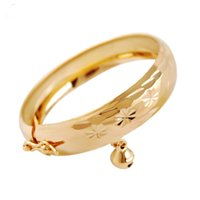 Wholesale gold filled kids bracelet for sale - Group buy New Cute Yellow Gold Color Flowers Pattern Bell Charm Bangles Bracelets for Baby Toddler Kids Girls Jewelry Bijoux