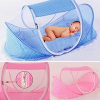 gefaltete betten großhandel-Wholesale-Baby-Bett Falten Sommer Anti Moskitonetz Modellierung Matratze Kissen Zelt Kinderbett