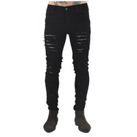 Wholesale Wholesale Designer Jeans For Men - Wholesale- Streetwear Pants2017 New Men's Jeans Ripped Jeans for Men Skinny Distressed Slim Famous Brand Designer Biker Hip Hop Swag Black