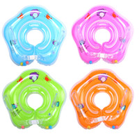 Wholesale Neck Float Wholesale - New dolphin Infant Neck Float Circle for Bathing Swimming cartoon PVC Inflatable 39cm 15 inches baby Safety Neck circle Dual airbags C2406