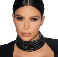 yazlık kolye toptan satış-Yıldız Aynı Tasarım Kim Kardashian Yaka Gerdanlık Kolye Kadınlar Bildirimi Takı Için Maxi Kolye Boho Aksesuarları 2017 Yaz Kız Takı