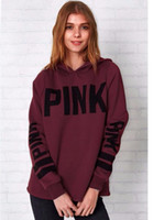 Wholesale Cute Pullover Sweatshirts - Love Pink Fashion Women Cute Long Sleeve Casual Sweatshirt Knitted VS Pink Sequins printing Pullovers Tops