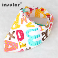Wholesale Tie Dye Scarves Wholesale - Cartoon Baby Bibs Triangle Burp Cotton Burp Saliva Infant Toddler Bandana Scarf Double Layers Kids Nursing Bibs