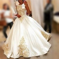 Wholesale Gold Satin Evening Gowns - Vintage Ball Gown Prom Dresses With Gold Appliques Satin Jewel Sleeveless Celebrity Pageant Gowns Sweep Train Formal Dresses Evening Wear