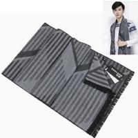 Wholesale Men Strip Clothes - Wholesale- men's scarf long scarves clothes accessories shawl plaid strips fashion winter autumn warm neckerchief