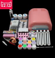Wholesale Gel Nails Kits For Sale - Wholesale- EM-92 Hot Sale nails gel Professional 36w Curing UV Dryer Lamp 12 Colours Nail Art Manicure Tools Kit For Beauty Nails