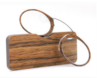 Wholesale sticky prints resale online - New Wood print Wallet Reading Glasses Sticky clip Nose reading glasses With box TR card