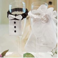 Wholesale Flute Cover - Wholesale-Bride and Groom Wedding Party Wine Glasses Champagne Flutes Cover Decoration