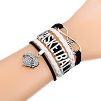 Wholesale Sliver Letters - Infinity Love Braided Bracelets in Sliver Charm Bracelets Jewerly With Casual Basketball Letters Rhinestone Pendant