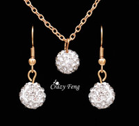 Frete grátis New Fashion women Jewelry Sets Rhinestone ball Colar Brincos Dangle Pendants Gold Plated Crystal Party gift