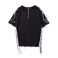 Wholesale Hip Hop Tassels T Shirt - Shoulder String Loose Style Hi-fashion Mens Tshirt 2017 Summer Front Zipper Hip Hop T-shirt Casual Tee Shirt Men 5513TT