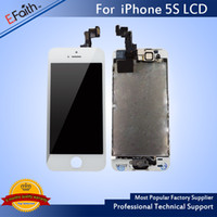 Wholesale Iphone Digitizer Pcs - 10 PCS A LOT For iPhone 5S Full Complete White LCD with Digitizer Bezel Frame+Home Button+Front Camera Full Assembly & Free Shiping