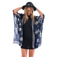 Wholesale Kimono Jackets Wholesale - Wholesale- Summer Thin Women Floral Print Kimono Hippie Cardigan Coat Batwing Short Sleeve Jacket Blusas Femininos Hot Sale
