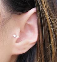 pendientes de tragus de oro al por mayor-2016 Venta Caliente Unisex Estilo de Verano de Oro / Plateado Cubic Zirconia Tragus Ear Cuff Clip Pendientes Para Las Mujeres Moda Earing