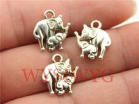 Wholesale WYSIWYG mm antique silver elephant mom and child charms