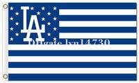 Wholesale Dodgers Banner - Los Angeles Dodgers US star stripe flag and logo MLB flag 90x150cm polyester digital print banner with 2 Metal Grommets 3x5ft