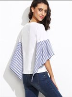 Wholesale Cheap Lady T Shirts - wholesale cheap price women clothing chic style fashion long ruffle striped sleeve round neck white t-shirt for ladies