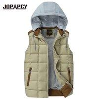Wholesale Sleevless Jackets - Wholesale- Hat Detachable Winter Vest Men Hooded Cotton-Padded Casual Slim Waistcoat Mens Sleevless Jacket MXF0068