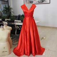 Wholesale Custom Embroidered Belts - 2017 Deep V Neck Long Prom Dresses Embroidered Sequined Belt A Line Lace Up Back Draped Satin Cheap Formal Evening Gowns Fast Shipping
