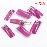 Wholesale Mini French Tips - Wholesale- 100pcs Cute Mini Flowers Nail Art Work Painting Half Cover Acrylic French False Nails Tip Fake Nail Tips BF235