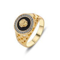 Wholesale Unique Gifts Male - Size 7-12mm 2016 New Arrival Unique Design Hight Quality Real Gold Plated Black Fashion Male Ring Men Jewelry