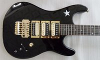 Wholesale black floyd rose tremolo - Custom Kramer Star Black Electric Guitar 3 Pickups Floyd Rose Tremolo Bridge Gold Hardware Star Fingerboard Inlays