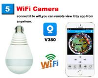 kablosuz güvenlik aydınlatması toptan satış-Panoramik Kamera Ampul Işık Kablosuz IP Kamera Wi-Fi FishEye HD 960 p 360 derece Mini CCTV VR Kamera 1.3MP Ev Güvenlik Kamera
