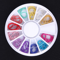 Wholesale Nail Art Bead Chain - 12pcs Wheel Metal Beads Chain 3D Nail Art Tips Decorations Crystal Glitter Wheel Rhinestones & Decorations For Nails