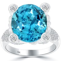 Wholesale Natural Diamonds Ring - 15.25 CTW Natural Blue Topaz & Diamond Fashion Cocktail Ring 14k White Gold