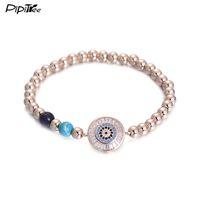 Wholesale European Cz Crystal Beads - Pipitree CZ Crystal Evil Eye Charm Bracelet Natural Stone Beaded Strand Rose Gold Color Bracelets & Bangles Jewelry for Men 5mm