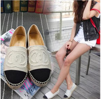 Wholesale Lambskin Leather Shoes - Famous Brand Women Espadrilles Top Quality Brand 2018 Real Lambskin Women Flat Shoes Comfortable casual loafers Size EUR35-42 with Box
