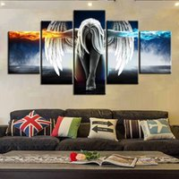 Wholesale Cloth Painting Designs - Modern Decorative Picture Air Brushing Canvas Oil Painting Mural Five Angels Wings Pattern Wall Sticker Top Quality 48 2jm B