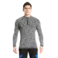 Wholesale Tights Men Suit - Sports suit men's long sleeves tights men's sports fitness clothes breathable shirt