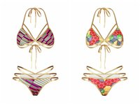 Wholesale Wholesale High Waisted Sets - 2017 Gold Color African Print Bikini Set For Women High Waisted Bikini Hollow Out Bandage Swimwear Cut Out Sexy Strappy Swimsuit