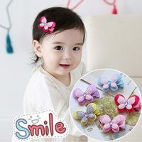 Wholesale Kid Butterfly Barrettes - Butterfly Hair bows for baby girls kid hair accessory cute baby hairwear butterfly Barrettes for little girls five colors