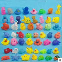Wholesale Rubber Duck Bath - Wholesale Baby Bath Toys Shower Water Floating Squeaky Yellow Ducks Cute Animal Baby Shower Toys Rubber Water Toys Free Shipping