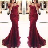 vestidos de noite do laço de borgonha venda por atacado-Borgonha Renda Sereia Apliques Off-a-ombro Vestidos de Noite 2019 Vestido De Festa Frisada Lantejoulas Longos Vestidos de Baile BA3809