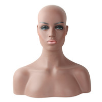 pelucas de piel nuevas al por mayor-A estrenar Cuatro diferentes Piel y maquillaje Mujer Realista Fibra de vidrio Afro-American Mannequin Head Busto Para mostrar pelucas de encaje