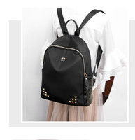 Wholesale Cloths Korean Man - Waterproof Big Backpack Black With Rivet Decoration for School Girl Material Oxford Cloth EU US Korean Fashion Style out139
