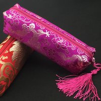 Wholesale Silk Pencil Bags - Waterproof Tassel Zipper Pencil Case Cosmetic Bag Women Makeup Travel Bag Chinese Silk Brocade Fabric Storage Pouches