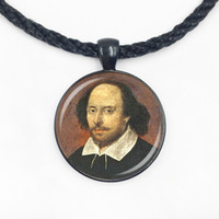 Wholesale shakespeare necklaces resale online - Glass Dome cabochon pendant WILLIAM shakespeare pendant necklace literary jewelry art pendant for men and women