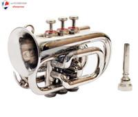 Wholesale Copper Chrome Finish - Wholesale- Professional Pocket Trumpet Chrome Finish B-Flat W Case+Mp Silver