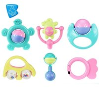 Wholesale Education Piece - Wholesale- Baby Ring Puzzle The Bell Toy Early Education Rattles Infant 6 Piece Set GYH