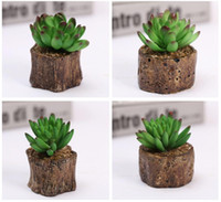 Wholesale Very pleasing Mini fleshiness artificial Package Bump Log stump potted small place plants DS01