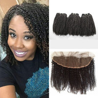 Wholesale baby curly hair weft for sale - Group buy 4a b c kinky curly human hair bundles with lace frontal closure natural black human hair lace frontals with baby hair G EASY