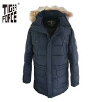 Wholesale Raccoon Cuffs - Wholesale- TIGER FORCE Hot Sale Men Fashion Down Jacket 70% White Duck Winter Hooded Coat Raccoon Fur Collar Rib Cuff Free Shipping D667F